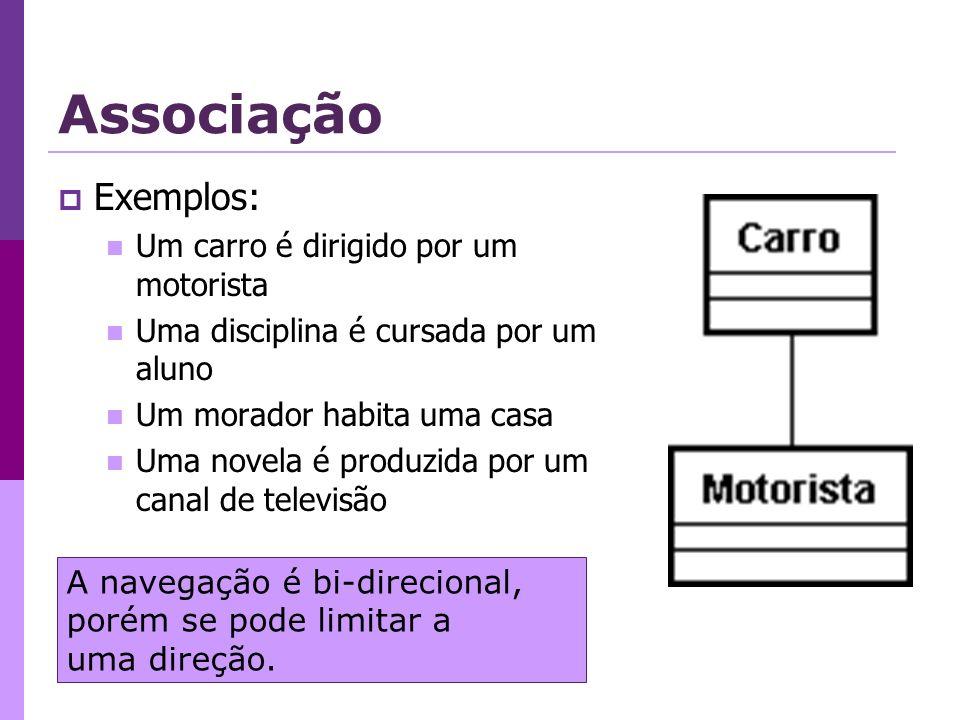 Associação Exemplos: Um carro é dirigido por um motorista Uma disciplina é cursada por um aluno Um morador habita uma casa Uma novela é produzida por um canal de televisão A navegação é bi-direcional, porém se pode limitar a uma direção.