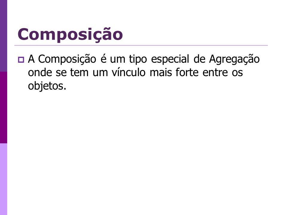 Composição A Composição é um tipo especial de Agregação onde se tem um vínculo mais forte entre os objetos.