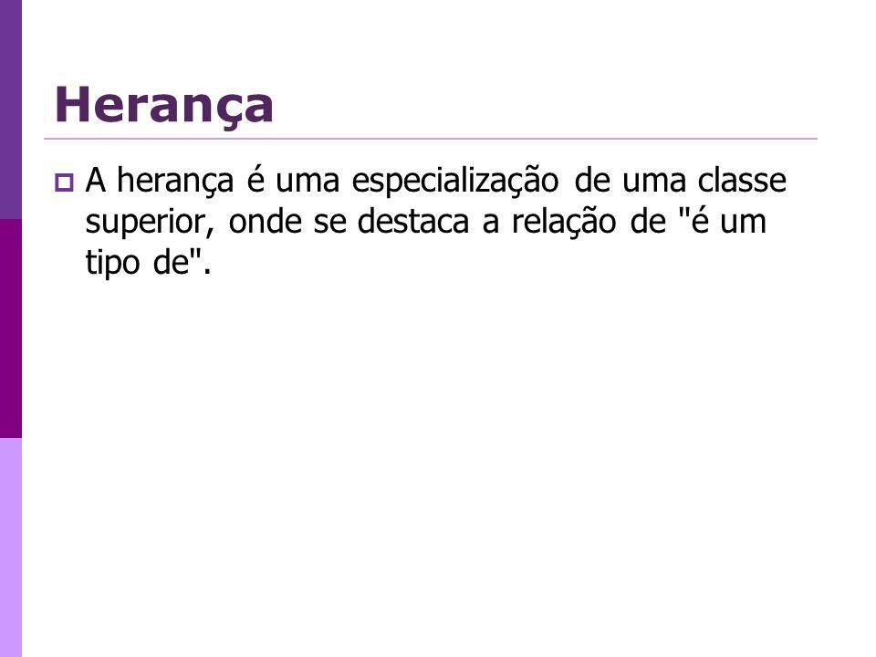Herança A herança é uma especialização de uma classe superior, onde se destaca a relação de