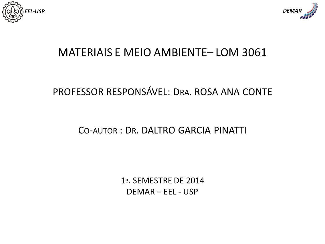 EEL-USP DEMAR MATERIAIS E MEIO AMBIENTE– LOM 3061 PROFESSOR RESPONSÁVEL: D RA. ROSA ANA CONTE C O - AUTOR : D R. DALTRO GARCIA PINATTI 1 º. SEMESTRE D
