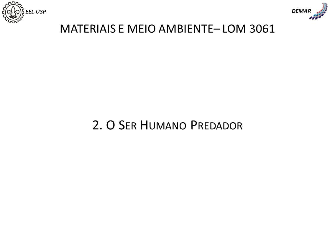 EEL-USP DEMAR MATERIAIS E MEIO AMBIENTE– LOM 3061 2. O S ER H UMANO P REDADOR