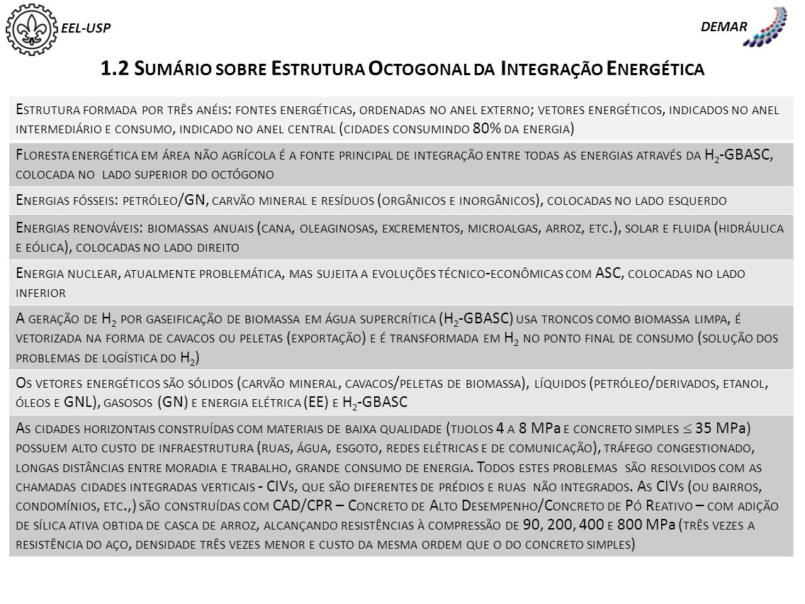 EEL-USP DEMAR 1.2 S UMÁRIO SOBRE E STRUTURA O CTOGONAL DA I NTEGRAÇÃO E NERGÉTICA E STRUTURA FORMADA POR TRÊS ANÉIS : FONTES ENERGÉTICAS, ORDENADAS NO