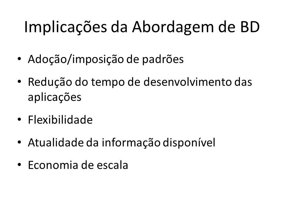 Implicações da Abordagem de BD Adoção/imposição de padrões Redução do tempo de desenvolvimento das aplicações Flexibilidade Atualidade da informação disponível Economia de escala