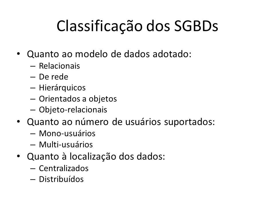 Classificação dos SGBDs Quanto ao modelo de dados adotado: – Relacionais – De rede – Hierárquicos – Orientados a objetos – Objeto-relacionais Quanto ao número de usuários suportados: – Mono-usuários – Multi-usuários Quanto à localização dos dados: – Centralizados – Distribuídos