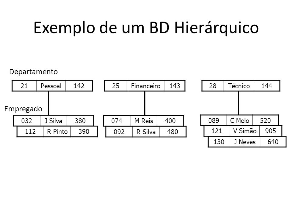 Exemplo de um BD Hierárquico 21Pessoal142 25Financeiro14328Técnico144 032J Silva380 112R Pinto390 121V Simão905 130J Neves640 092R Silva480 089C Melo520 074M Reis400 Departamento Empregado