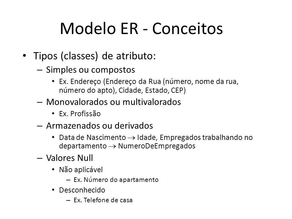 Modelo ER - Conceitos Tipos (classes) de atributo: – Simples ou compostos Ex.