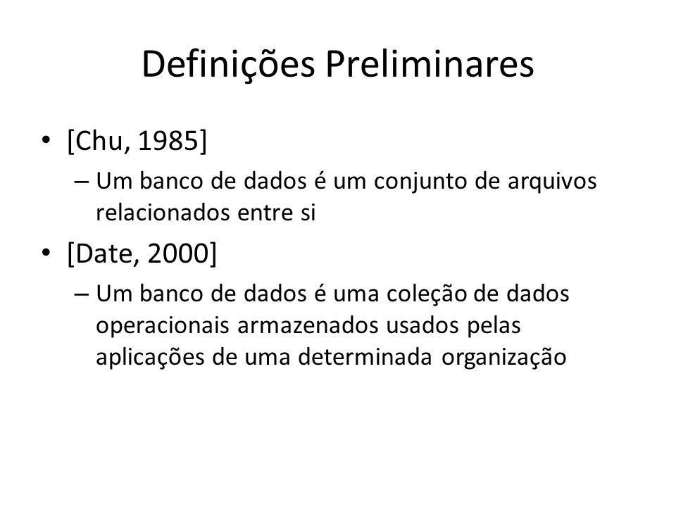 Definições Preliminares [Chu, 1985] – Um banco de dados é um conjunto de arquivos relacionados entre si [Date, 2000] – Um banco de dados é uma coleção de dados operacionais armazenados usados pelas aplicações de uma determinada organização