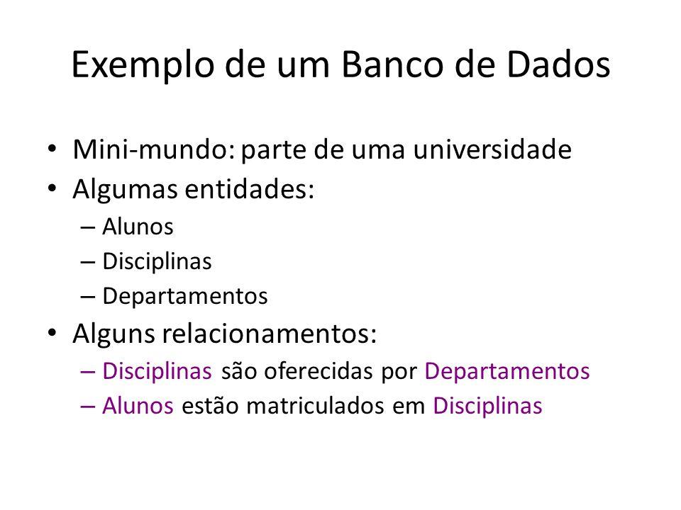 Exemplo de um Banco de Dados Mini-mundo: parte de uma universidade Algumas entidades: – Alunos – Disciplinas – Departamentos Alguns relacionamentos: – Disciplinas são oferecidas por Departamentos – Alunos estão matriculados em Disciplinas