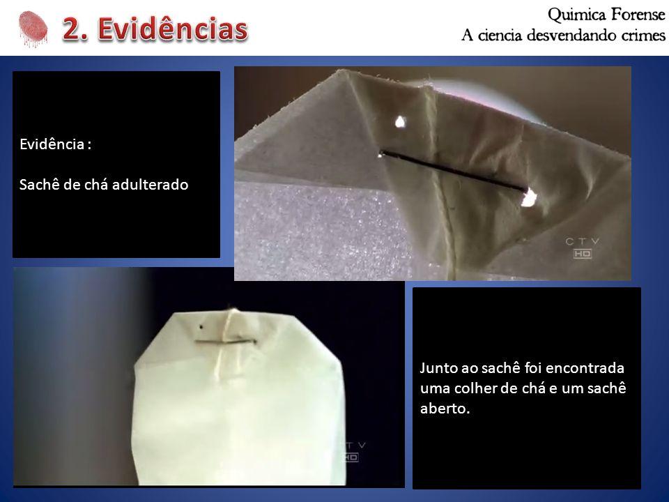 Evidência : Sachê de chá adulterado Junto ao sachê foi encontrada uma colher de chá e um sachê aberto.