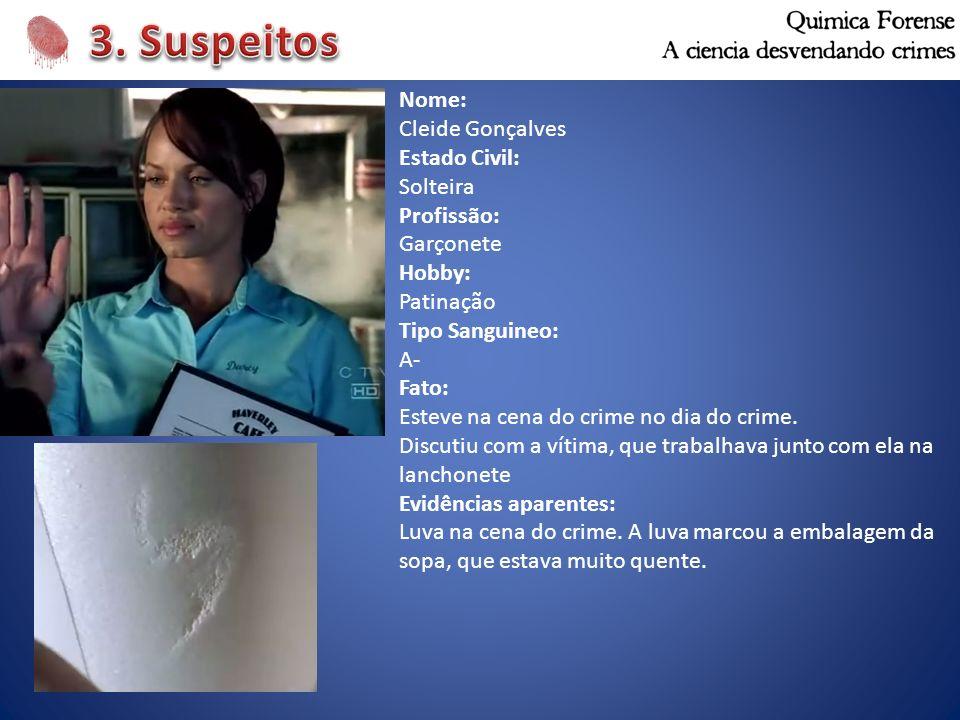 Nome: Cleide Gonçalves Estado Civil: Solteira Profissão: Garçonete Hobby: Patinação Tipo Sanguineo: A- Fato: Esteve na cena do crime no dia do crime.