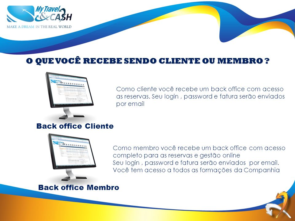 Back office Cliente Back office Membro O QUE VOCÊ RECEBE SENDO CLIENTE OU MEMBRO .