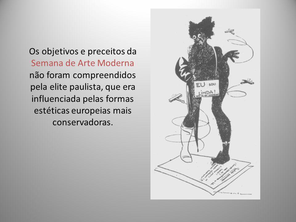 Os objetivos e preceitos da Semana de Arte Moderna não foram compreendidos pela elite paulista, que era influenciada pelas formas estéticas europeias mais conservadoras.