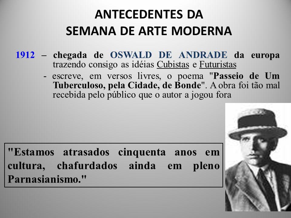 ANTECEDENTES DA SEMANA DE ARTE MODERNA 1912 – chegada de OSWALD DE ANDRADE da europa trazendo consigo as idéias Cubistas e Futuristas - escreve, em versos livres, o poema Passeio de Um Tuberculoso, pela Cidade, de Bonde .
