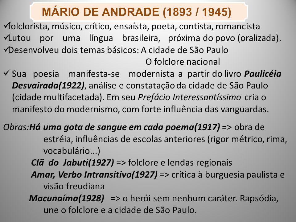 MÁRIO DE ANDRADE (1893 / 1945) MÁRIO DE ANDRADE (1893 / 1945) folclorista, músico, crítico, ensaísta, poeta, contista, romancista Lutou por uma língua brasileira, próxima do povo (oralizada).