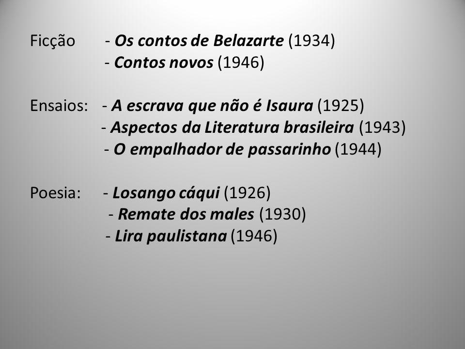 Ficção - Os contos de Belazarte (1934) - Contos novos (1946) Ensaios: - A escrava que não é Isaura (1925) - Aspectos da Literatura brasileira (1943) - O empalhador de passarinho (1944) Poesia: - Losango cáqui (1926) - Remate dos males (1930) - Lira paulistana (1946)