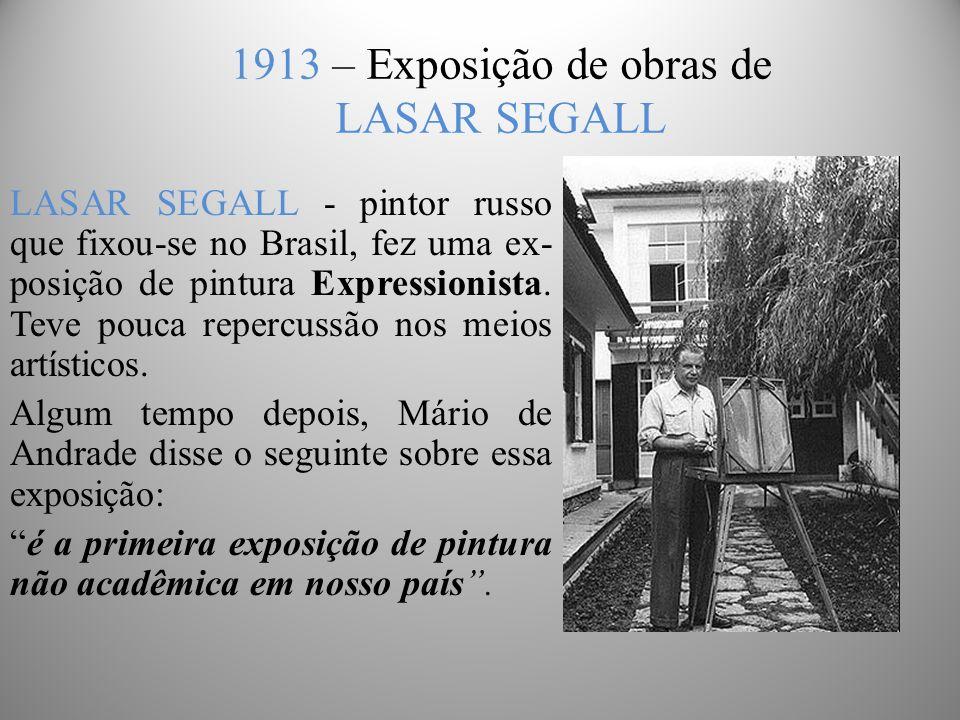 1913 – Exposição de obras de LASAR SEGALL LASAR SEGALL - pintor russo que fixou-se no Brasil, fez uma ex- posição de pintura Expressionista.