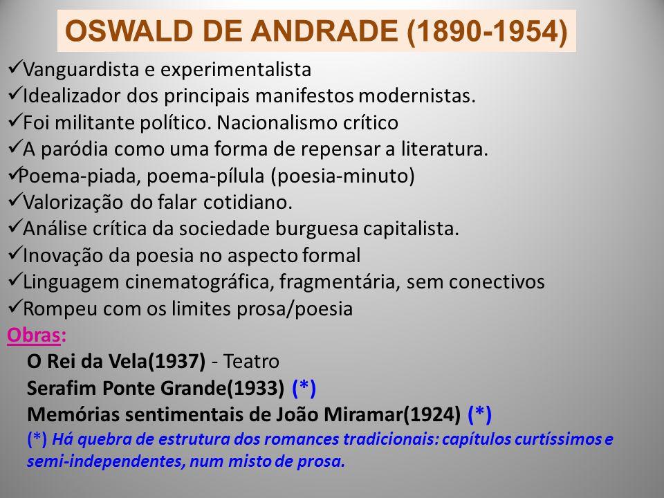 OSWALD DE ANDRADE (1890-1954) Vanguardista e experimentalista Idealizador dos principais manifestos modernistas.