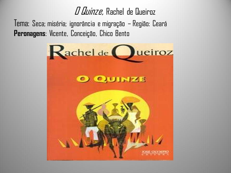 O Quinze, Rachel de Queiroz Tema: Seca; miséria; ignorância e migração – Região: Ceará Peronagens : Vicente, Conceição, Chico Bento