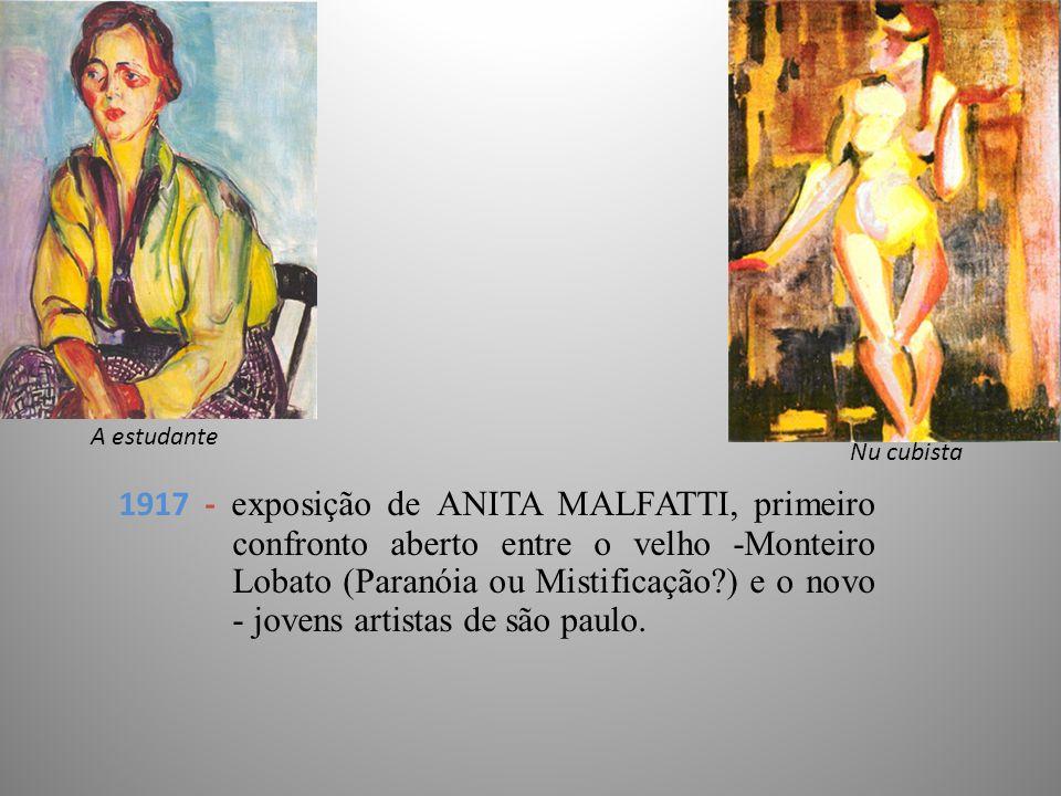 1917 - exposição de ANITA MALFATTI, primeiro confronto aberto entre o velho -Monteiro Lobato (Paranóia ou Mistificação?) e o novo - jovens artistas de são paulo.