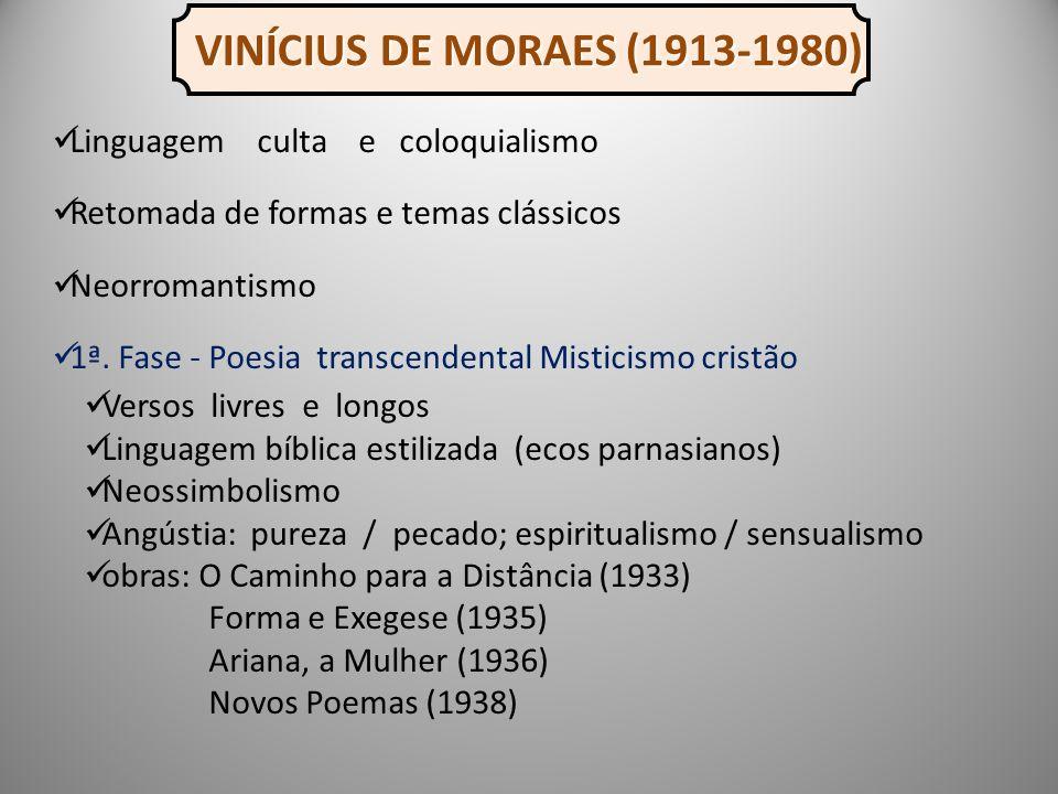 VINÍCIUS DE MORAES (1913-1980) Linguagem culta e coloquialismo Retomada de formas e temas clássicos Neorromantismo 1ª.