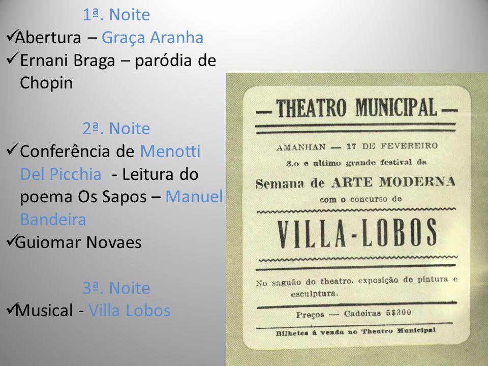 1ª.Noite Abertura – Graça Aranha Ernani Braga – paródia de Chopin 2ª.