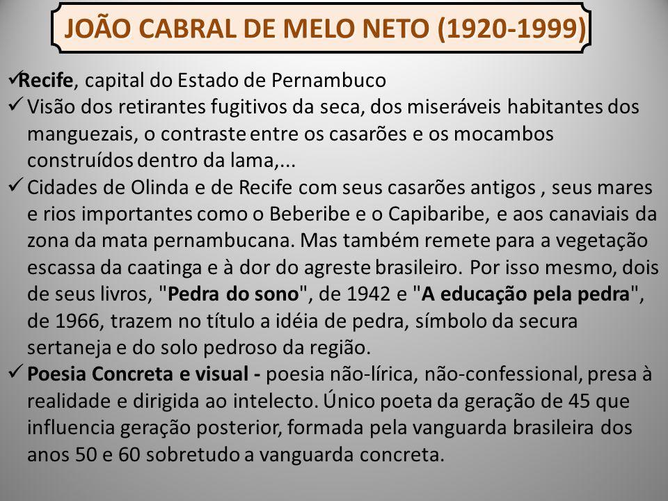 Recife, capital do Estado de Pernambuco Visão dos retirantes fugitivos da seca, dos miseráveis habitantes dos manguezais, o contraste entre os casarões e os mocambos construídos dentro da lama,...