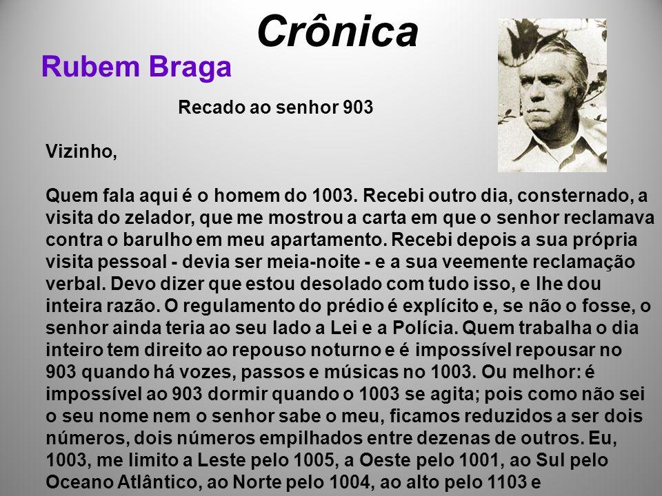 Crônica Rubem Braga Recado ao senhor 903 Vizinho, Quem fala aqui é o homem do 1003.
