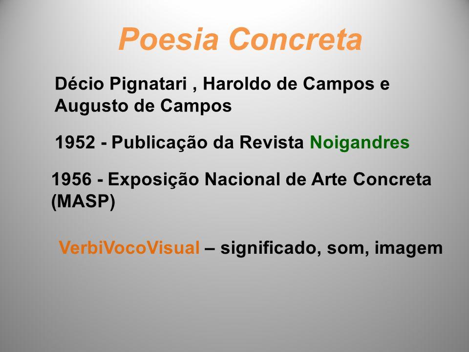 Poesia Concreta Décio Pignatari, Haroldo de Campos e Augusto de Campos 1952 - Publicação da Revista Noigandres 1956 - Exposição Nacional de Arte Concreta (MASP) VerbiVocoVisual – significado, som, imagem