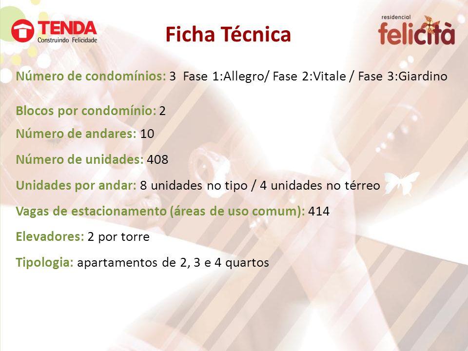 Ficha Técnica Número de condomínios: 3 Fase 1:Allegro/ Fase 2:Vitale / Fase 3:Giardino Blocos por condomínio: 2 Número de andares: 10 Número de unidad