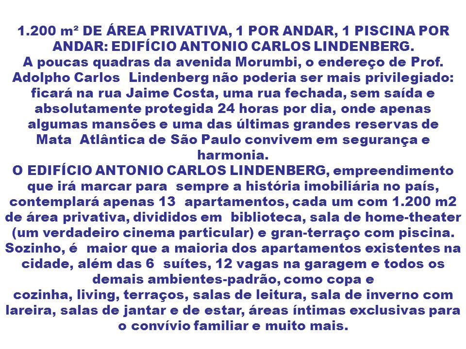 1.200 m² DE ÁREA PRIVATIVA, 1 POR ANDAR, 1 PISCINA POR ANDAR: EDIFÍCIO ANTONIO CARLOS LINDENBERG.
