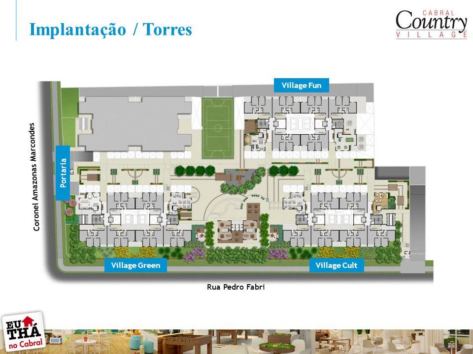Implantação / Torres Rua Pedro Fabri Coronel Amazonas Marcondes Village Fun Village CultVillage Green Portaria
