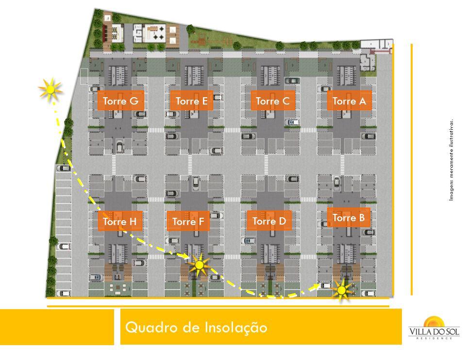Quadro de Insolação Torre A Torre B Torre C Torre D Torre E Torre F Torre G Torre H Imagens meramente ilustrativas.