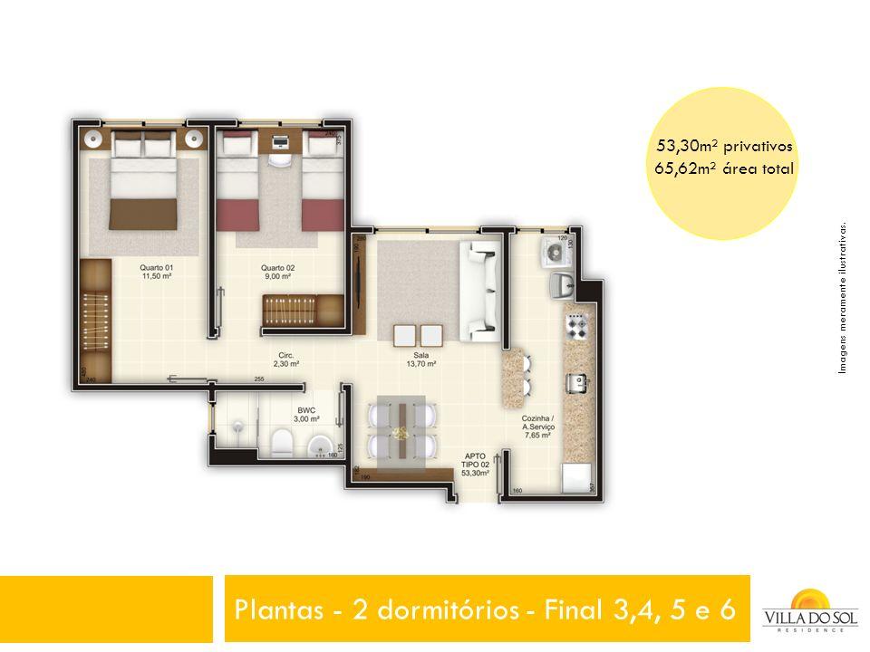 Plantas - 2 dormitórios - Final 3,4, 5 e 6 53,30m² privativos 65,62m² área total Imagens meramente ilustrativas.