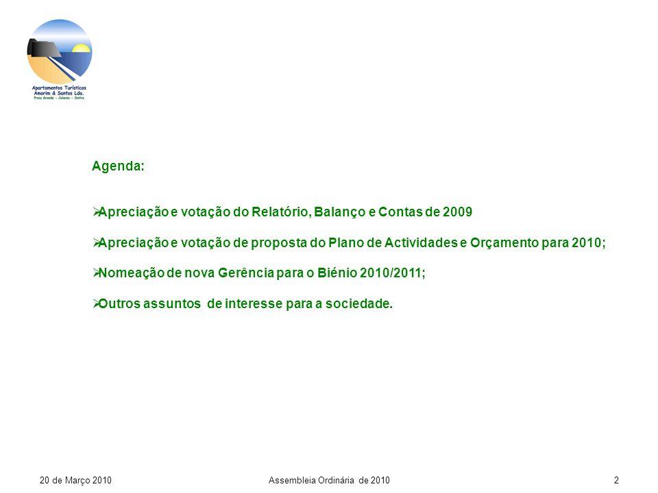 20 de Março 2010Assembleia Ordinária de 20102 Agenda: Apreciação e votação do Relatório, Balanço e Contas de 2009 Apreciação e votação de proposta do Plano de Actividades e Orçamento para 2010; Nomeação de nova Gerência para o Biénio 2010/2011; Outros assuntos de interesse para a sociedade.