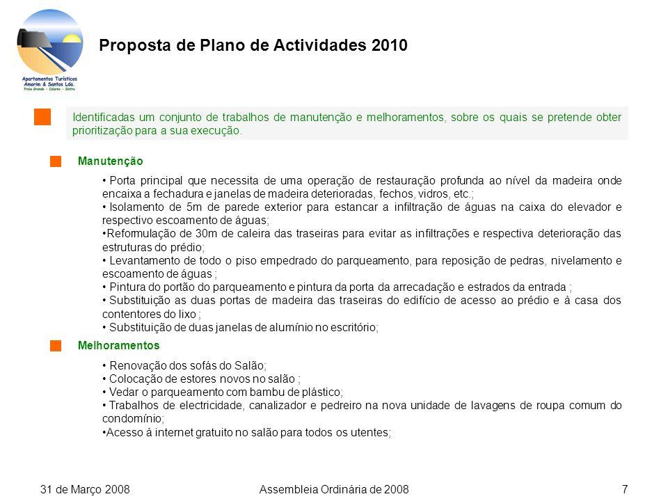 31 de Março 2008Assembleia Ordinária de 20087 Proposta de Plano de Actividades 2010 Identificadas um conjunto de trabalhos de manutenção e melhoramentos, sobre os quais se pretende obter prioritização para a sua execução.