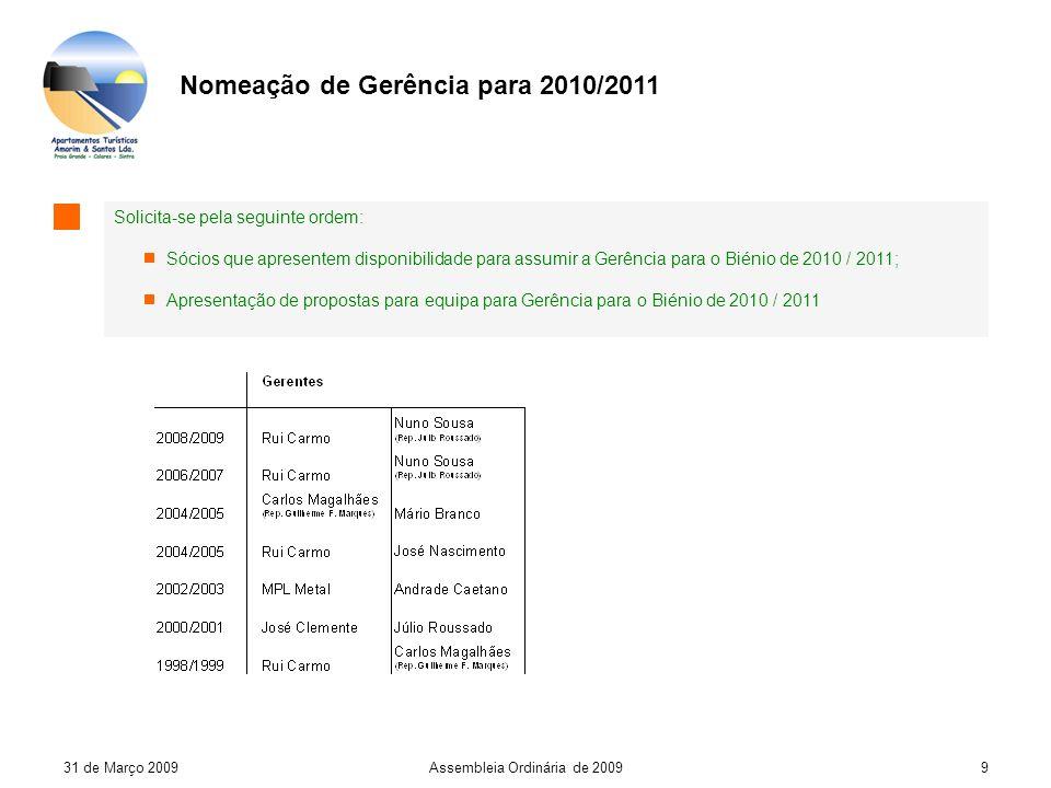 31 de Março 2009Assembleia Ordinária de 20099 Nomeação de Gerência para 2010/2011 Solicita-se pela seguinte ordem: Sócios que apresentem disponibilidade para assumir a Gerência para o Biénio de 2010 / 2011; Apresentação de propostas para equipa para Gerência para o Biénio de 2010 / 2011
