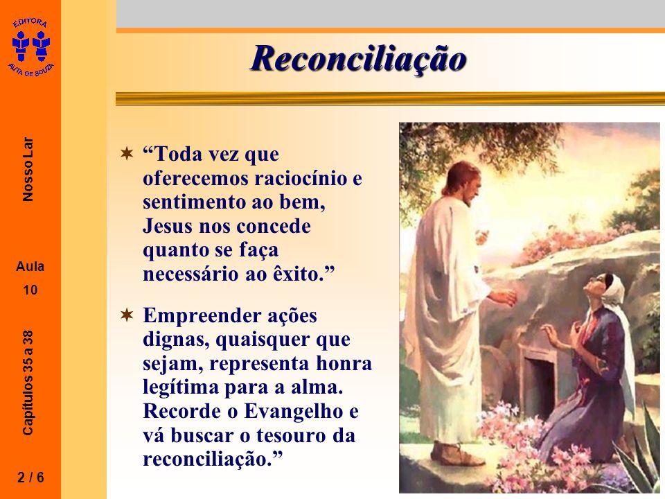 Nosso Lar Aula 10 Capítulos 35 a 38 Reconciliação Toda vez que oferecemos raciocínio e sentimento ao bem, Jesus nos concede quanto se faça necessário