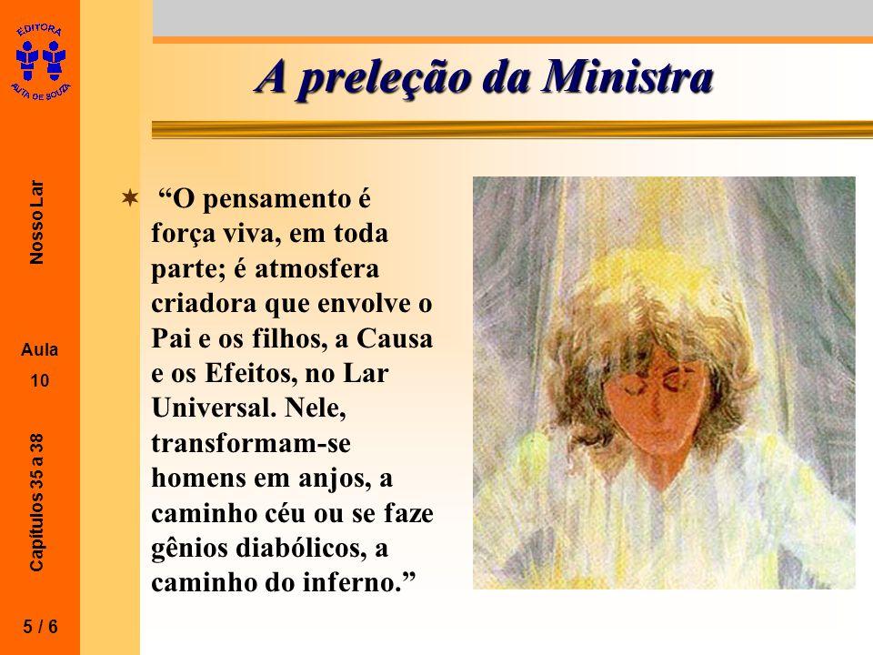 Nosso Lar Aula 10 Capítulos 35 a 38 A preleção da Ministra O pensamento é força viva, em toda parte; é atmosfera criadora que envolve o Pai e os filho
