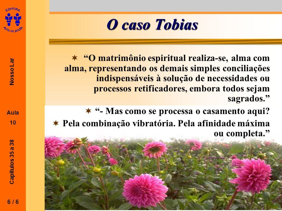 Nosso Lar Aula 10 Capítulos 35 a 38 O caso Tobias O matrimônio espiritual realiza-se, alma com alma, representando os demais simples conciliações indi