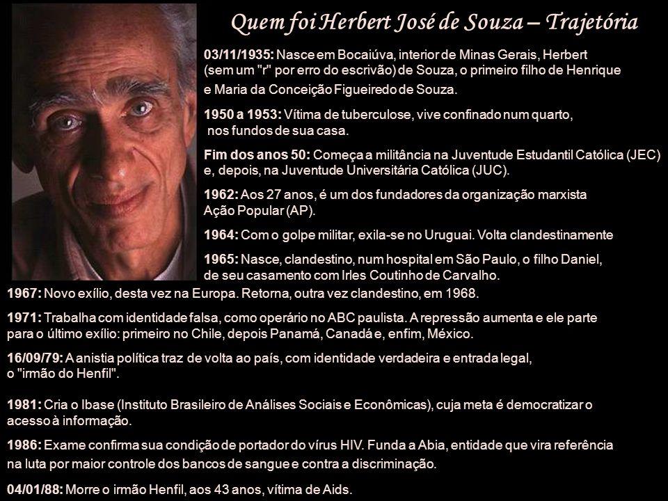 Herbert José de Souza (Betinho) (Betinho) (Sociólogo brasileiro) 3/11/1935, Bocaiúva (MG) 9/8/1977, Rio de Janeiro (RJ)