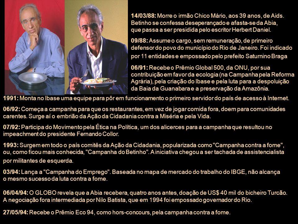 Quem foi Herbert José de Souza – Trajetória 03/11/1935: Nasce em Bocaiúva, interior de Minas Gerais, Herbert (sem um