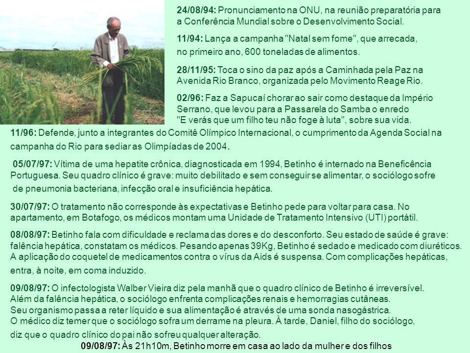 14/03/88: Morre o irmão Chico Mário, aos 39 anos, de Aids. Betinho se confessa deseperançado e afasta-se da Abia, que passa a ser presidida pelo escri