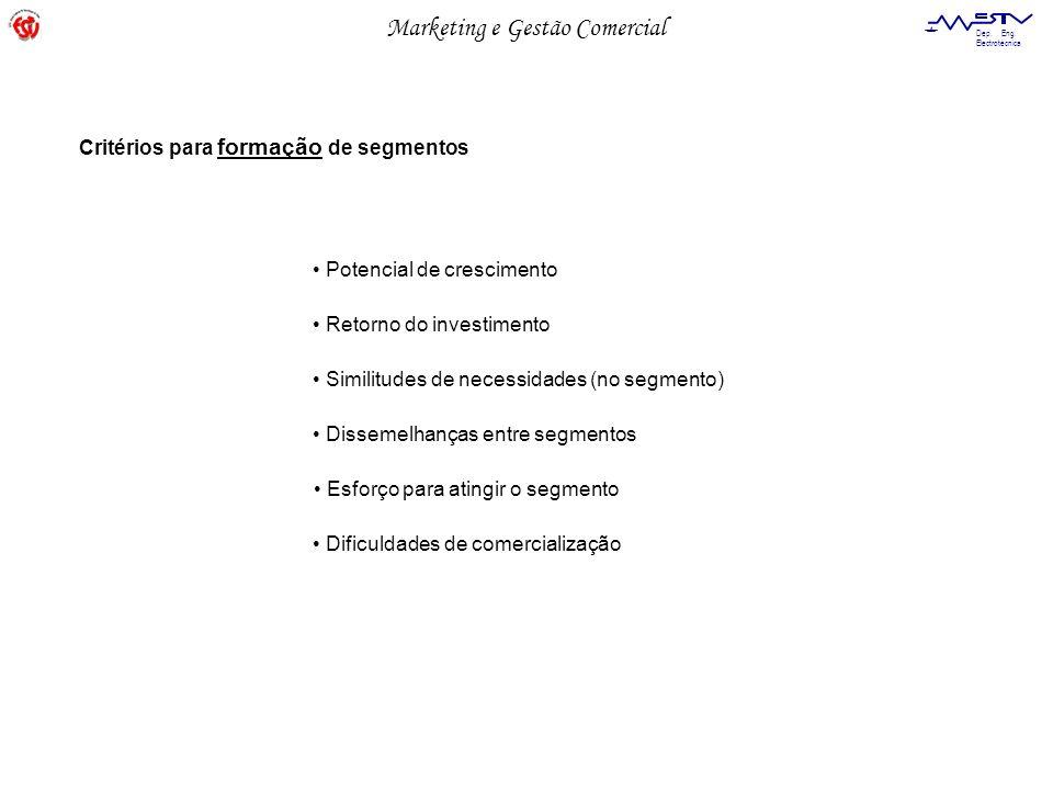 Marketing e Gestão Comercial Dep. Eng. Electrotécnica Critérios para formação de segmentos Potencial de crescimento Retorno do investimento Similitude