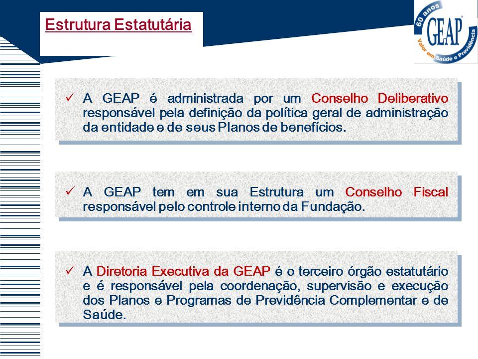 A GEAP é administrada por um Conselho Deliberativo responsável pela definição da política geral de administração da entidade e de seus Planos de benef