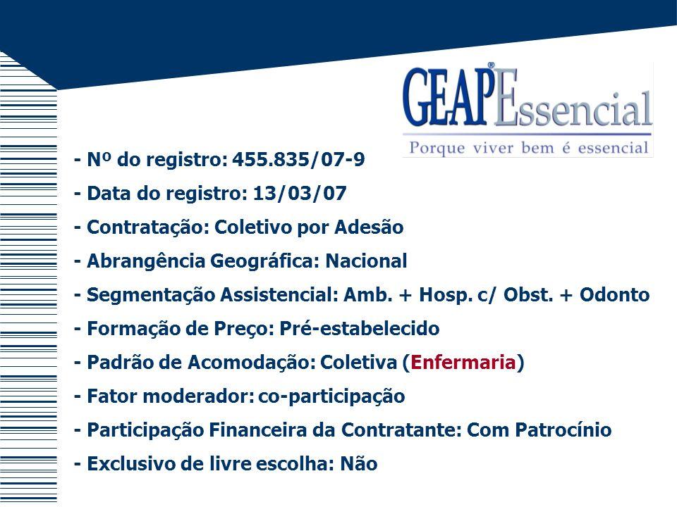 - Nº do registro: 455.835/07-9 - Data do registro: 13/03/07 - Contratação: Coletivo por Adesão - Abrangência Geográfica: Nacional - Segmentação Assist