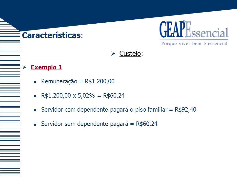 Características: Custeio: Exemplo 1 Remuneração = R$1.200,00 R$1.200,00 x 5,02% = R$60,24 Servidor com dependente pagará o piso familiar = R$92,40 Ser