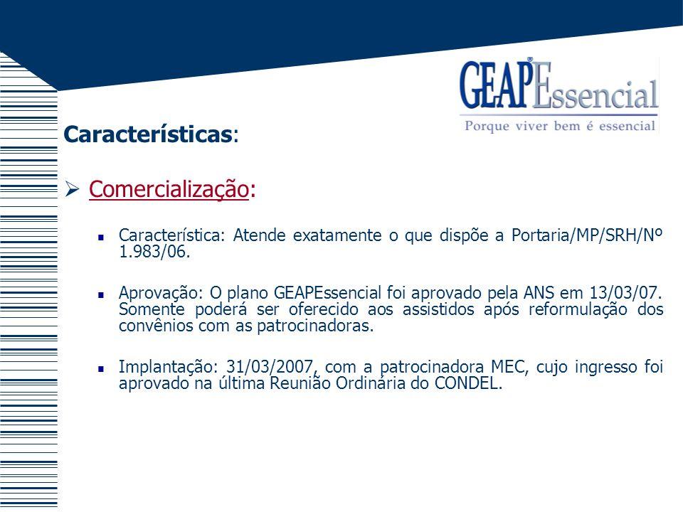 Características: Comercialização: Característica: Atende exatamente o que dispõe a Portaria/MP/SRH/Nº 1.983/06. Aprovação: O plano GEAPEssencial foi a
