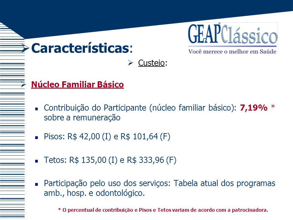 Características: Custeio: Núcleo Familiar Básico Contribuição do Participante (núcleo familiar básico): 7,19% * sobre a remuneração Pisos: R$ 42,00 (I