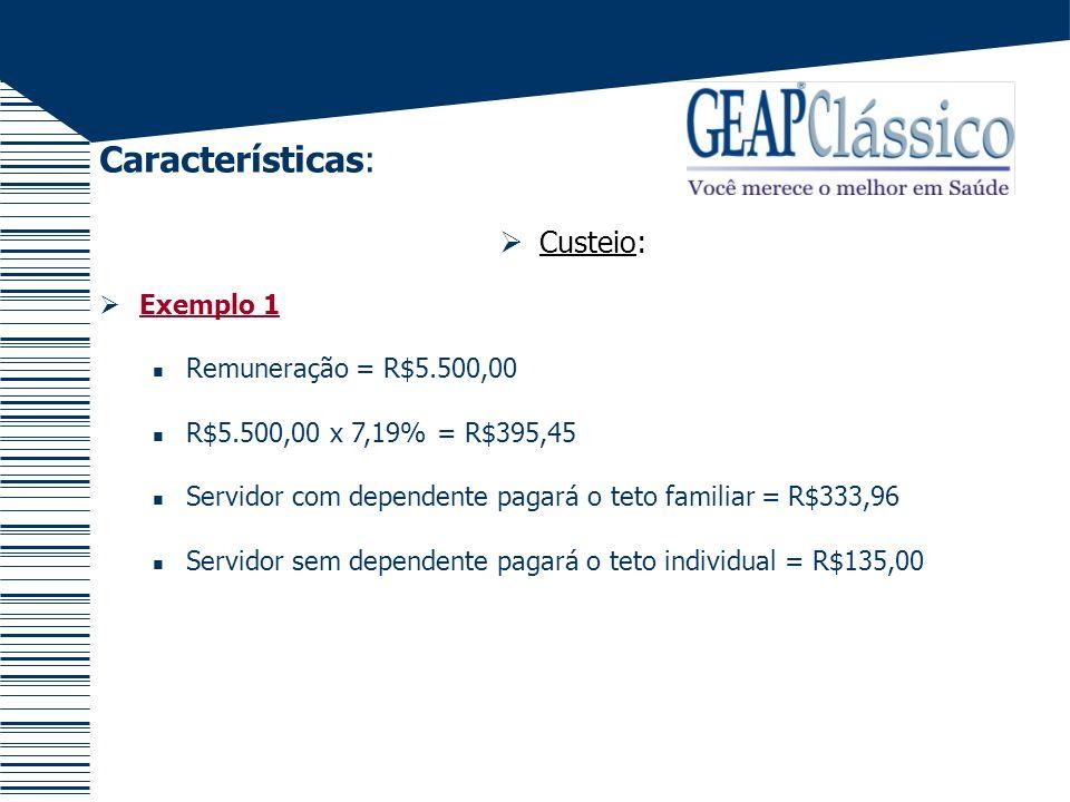Características: Custeio: Exemplo 1 Remuneração = R$5.500,00 R$5.500,00 x 7,19% = R$395,45 Servidor com dependente pagará o teto familiar = R$333,96 S