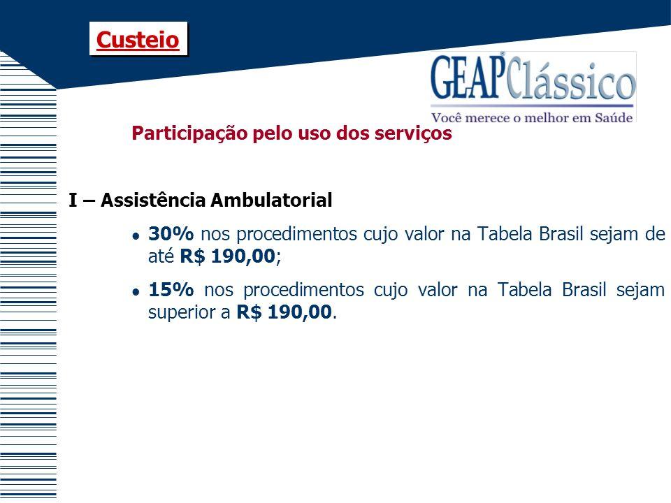Participação pelo uso dos serviços I – Assistência Ambulatorial 30% nos procedimentos cujo valor na Tabela Brasil sejam de até R$ 190,00; 15% nos proc